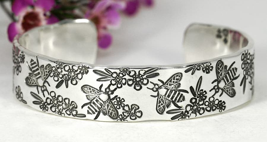 'Busy Bees', Cuff featuring Bees and Gerldton Wax