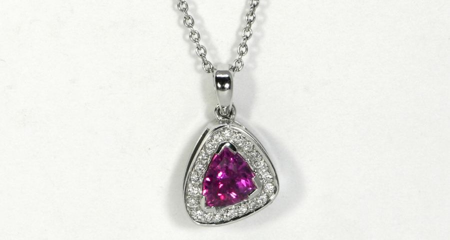 'Little bit of Pink', 18ct White Gold pendant set with Pink Sapphire and Diamonds