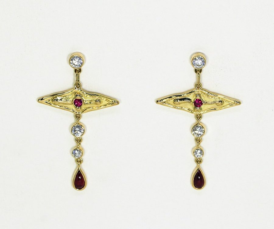 'Shiraz', 18ct fused Gold earrings set with Rubies and Diamonds