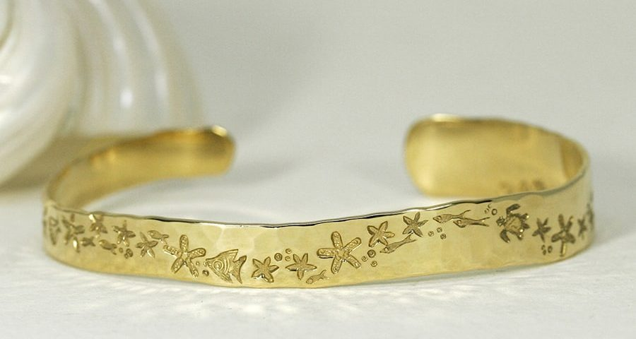 'Starfish Magic', 18ct Yellow Gold beaten finish Cuff