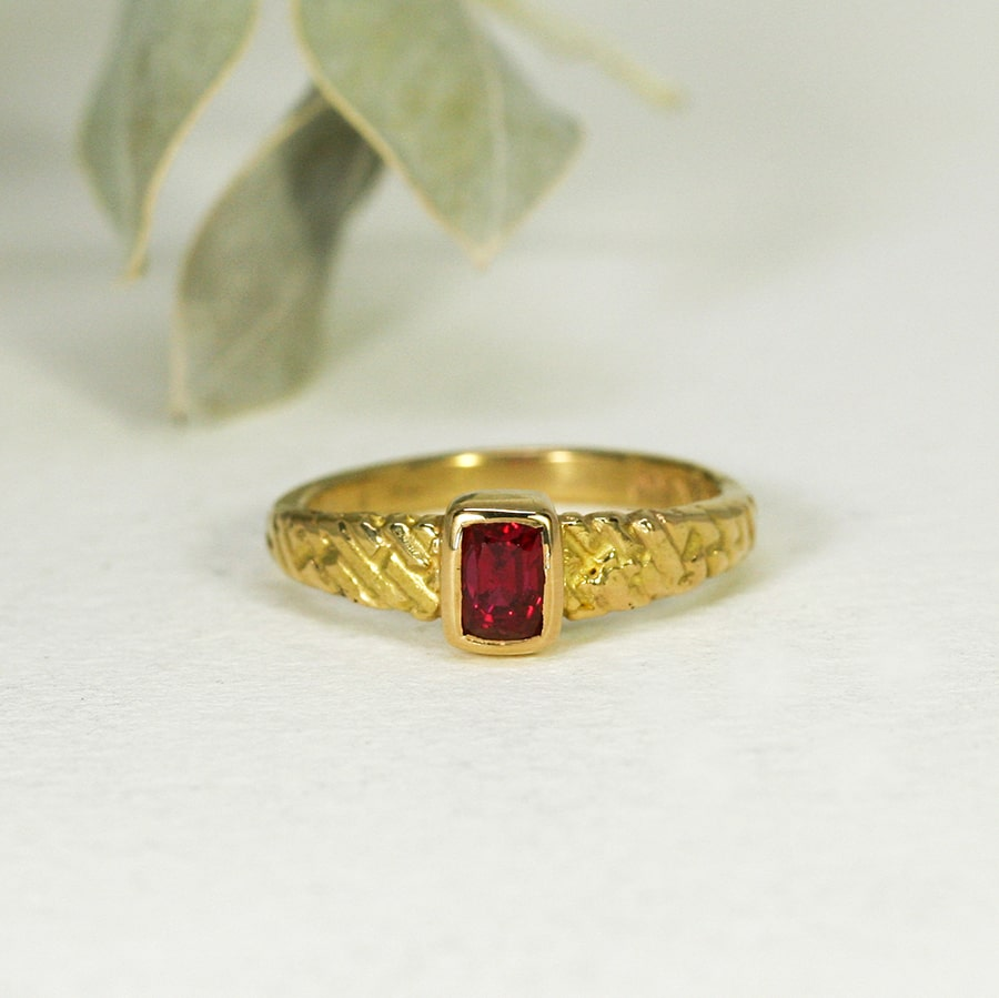 'Mystical Fire', 22ct Yellow Gold Ring set with a 53pt Burma Spinel