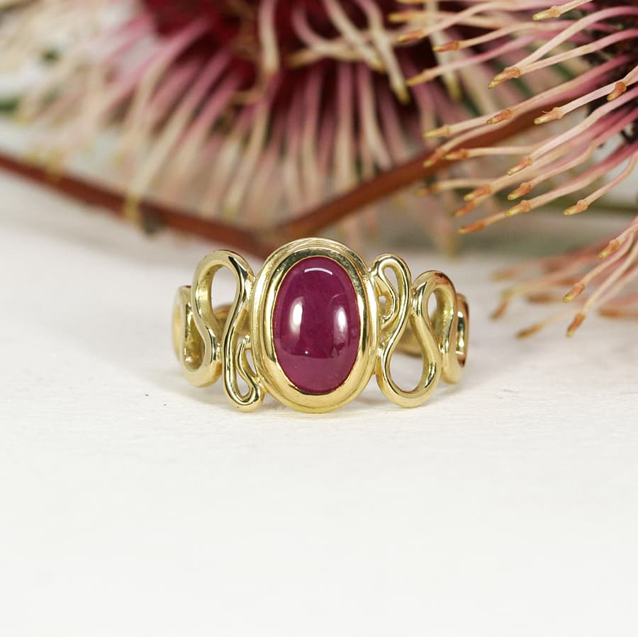 'Ruby Swirl', 18ct Yellow Gold Ring set with a 2.58ct Burma Ruby