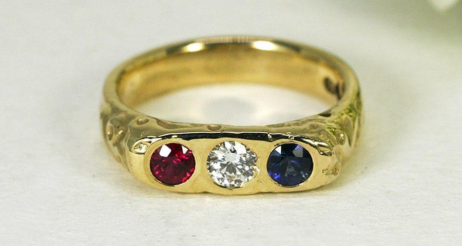'Royal Blood', 18ct Yellow Gold Ring set with 20pt Ceylon Sapphire, Diamond and Burma Ruby
