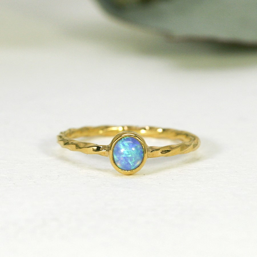 'Tiny Flower', 22ct and 18ct Yellow Gold Ring set with a Coober Pedy Opal