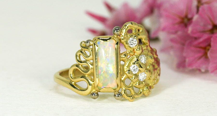'Dreaming in Colour', 18ct Yellow and White Gold Ring set with a Coober Pedy Opal and four Diamonds