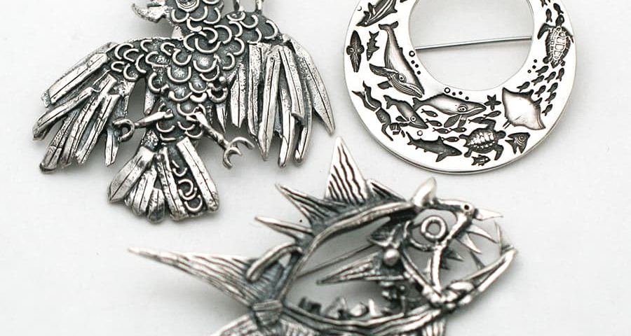 Brooches, fused or stamped