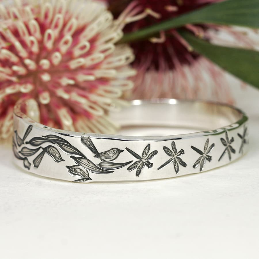 'Dragonflies and Wrens', Tapered cuff design including gumleaves and gumnuts