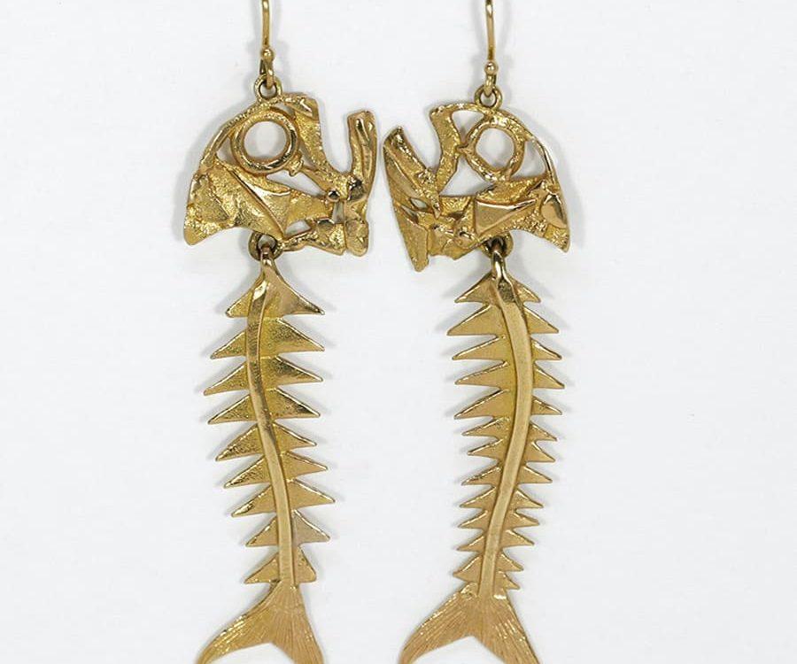 'Fishbone' Earrings, 18ct fused gold