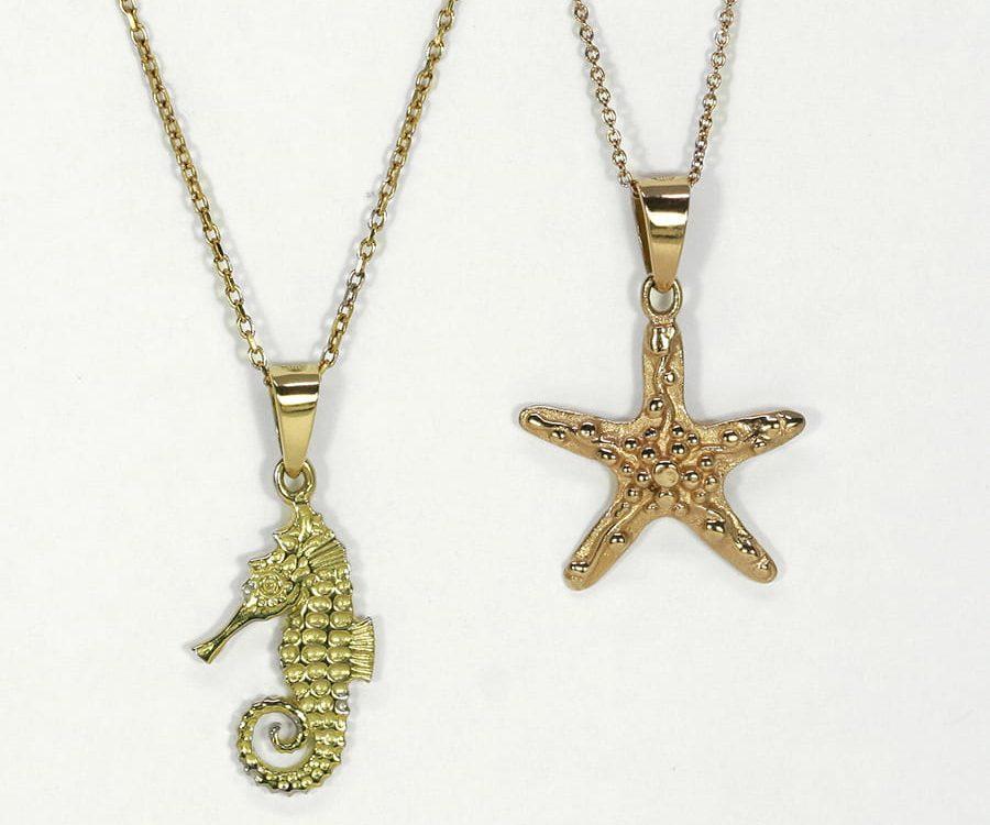 Fused 18ct Gold Pendants starfish seahorse john miller design