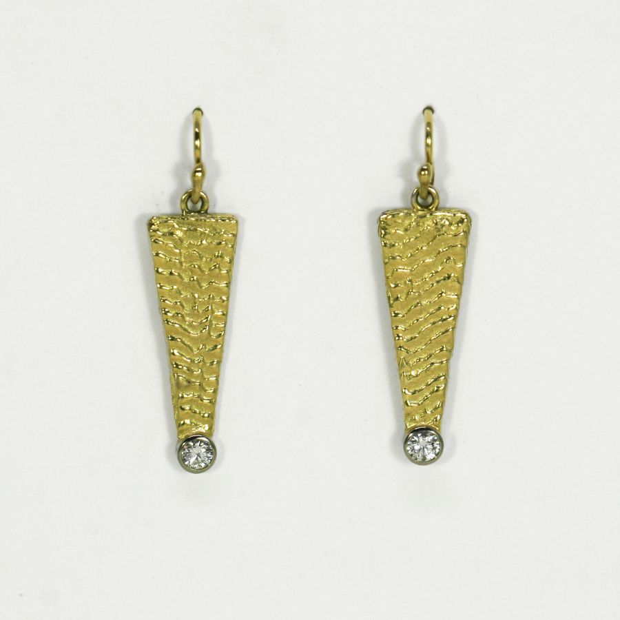 'Little Rays of Sunshine', 18ct Yellow Gold earrings set with Diamonds