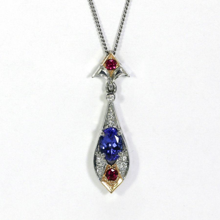 'Salacia', 18ct White and Rose Gold pendant set with Tanzanite, Rubies and Diamonds