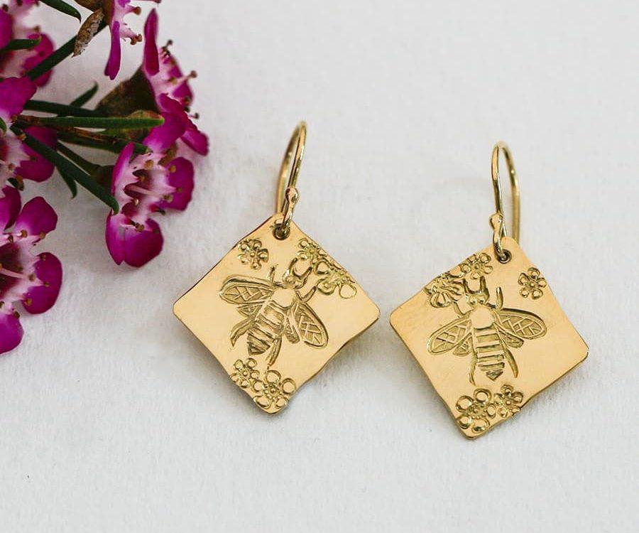 Bee & Gerladton Wax, 18ct Yellow Gold diamond shaped Earrings