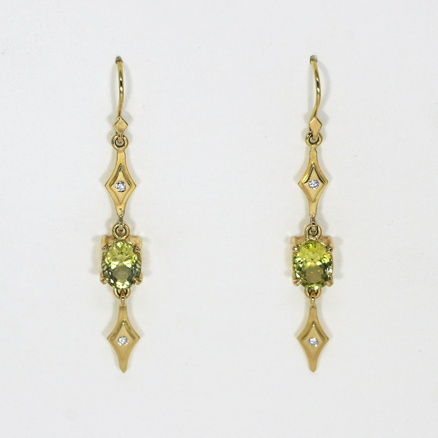 'Chartreuse', 18ct Yellow Gold earrings set with Ceylon Chrysoberyl and Diamonds