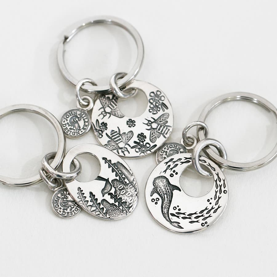 Keyrings in a variety of shapes and designs