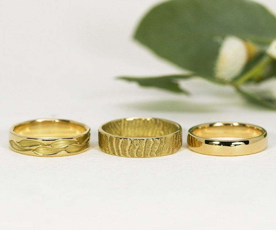 18ct Yellow Gold Bands, in a variety of plain, stamped or textured designs