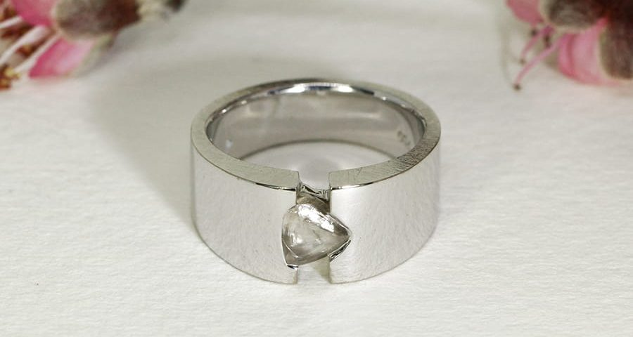 'Champagne and Ice', 18ct White Gold Ring set with a 1.34ct uncut Champagne Diamond