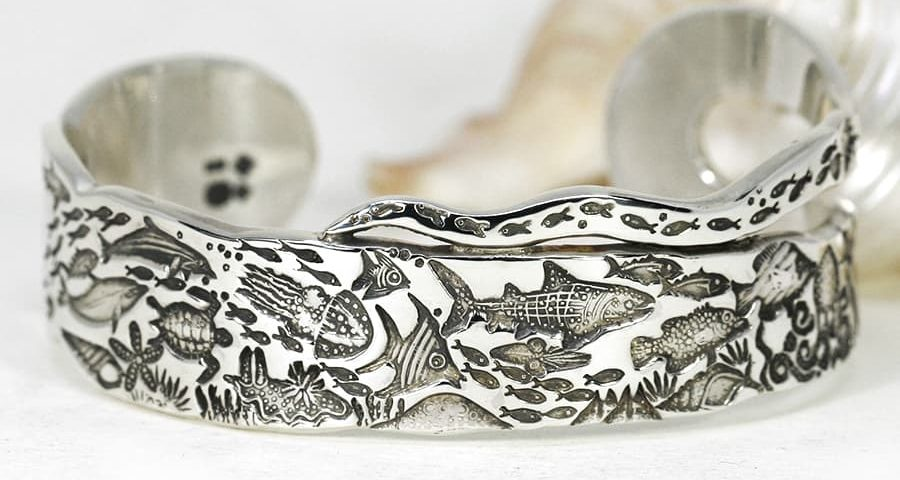 'Scalloped Sea Scene', Underwater Story Cuff in our 'Something Special' range, featuring scalloped edges