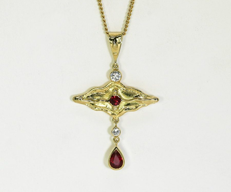 'Shiraz', 18ct fused Gold pendant set with two Rubies and two Diamonds