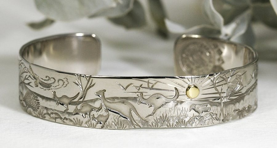 'Desert Sunrise', 9ct White Gold Cuff set with an 18ct Yellow Gold rivet