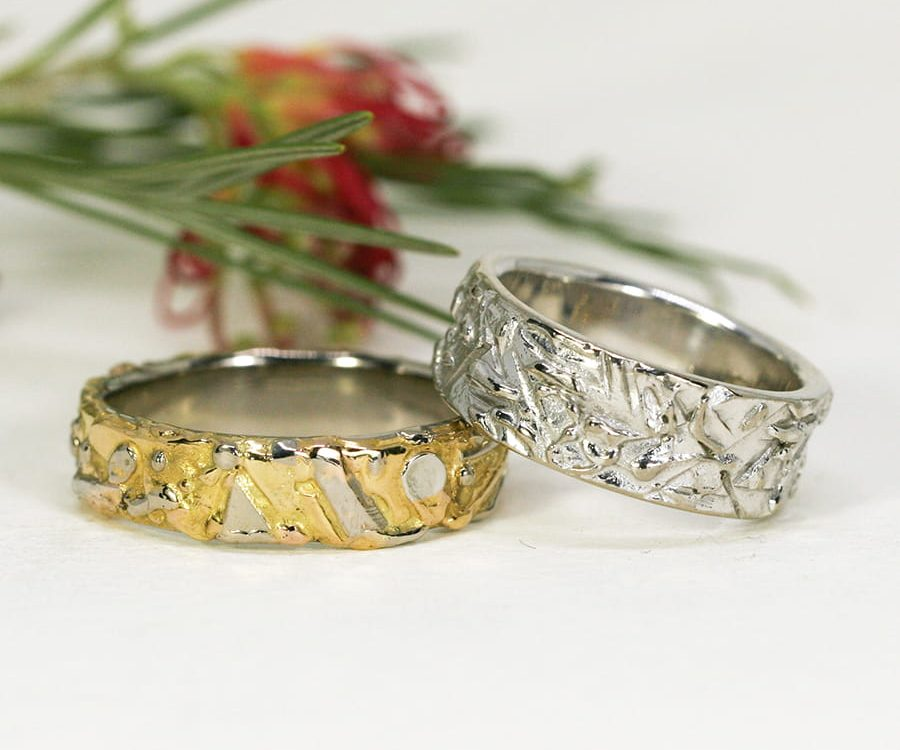 Fused 18ct Yellow, Rose and White Gold Bands