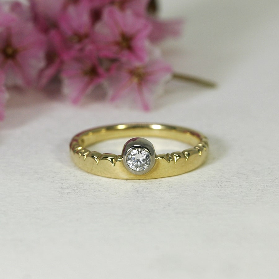 'Golden Cloud', 18ct Yellow Gold Band with 18ct White Gold Bezel, set with a 15pt Diamond