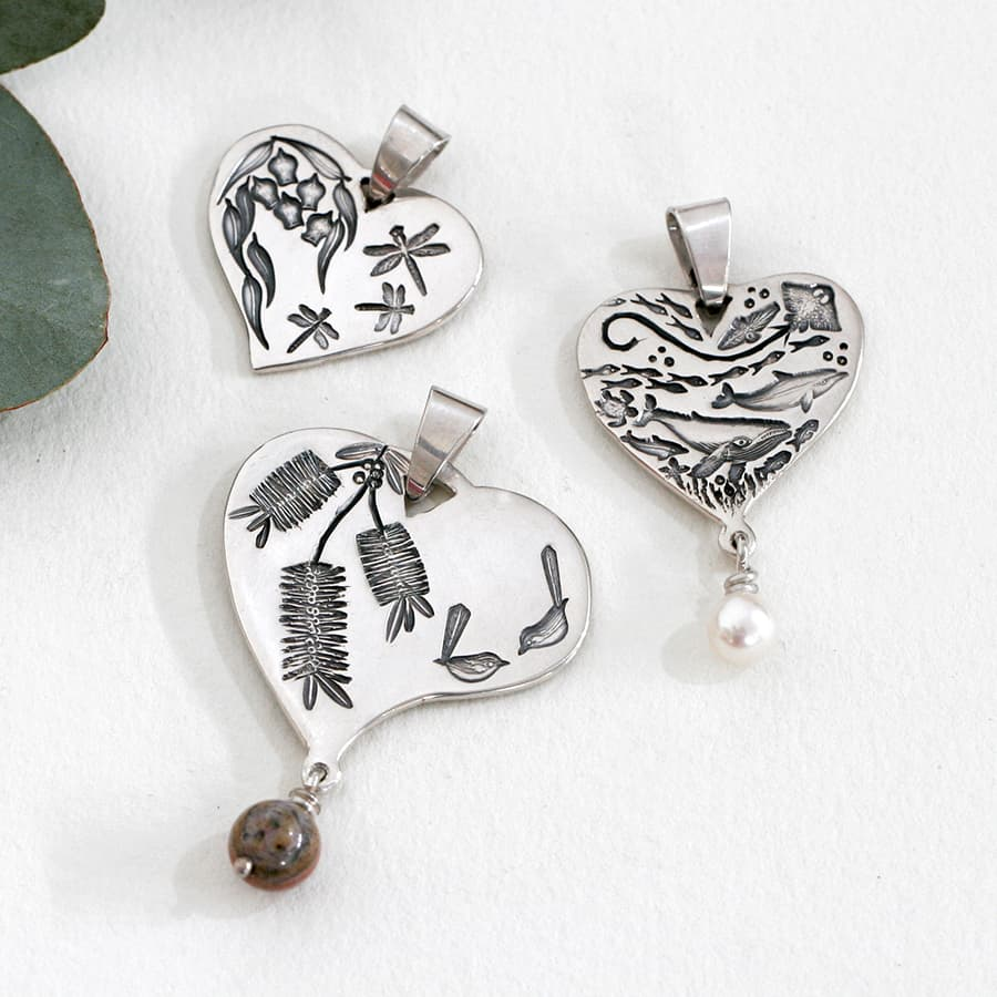 Heart Pendants, different designs and sizes, with or without Pearl drops