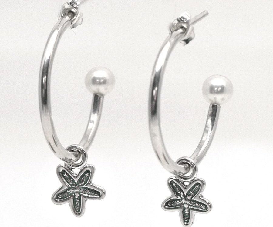 Hoop Stud Earrings with Fresh water pearls and Starfish charm