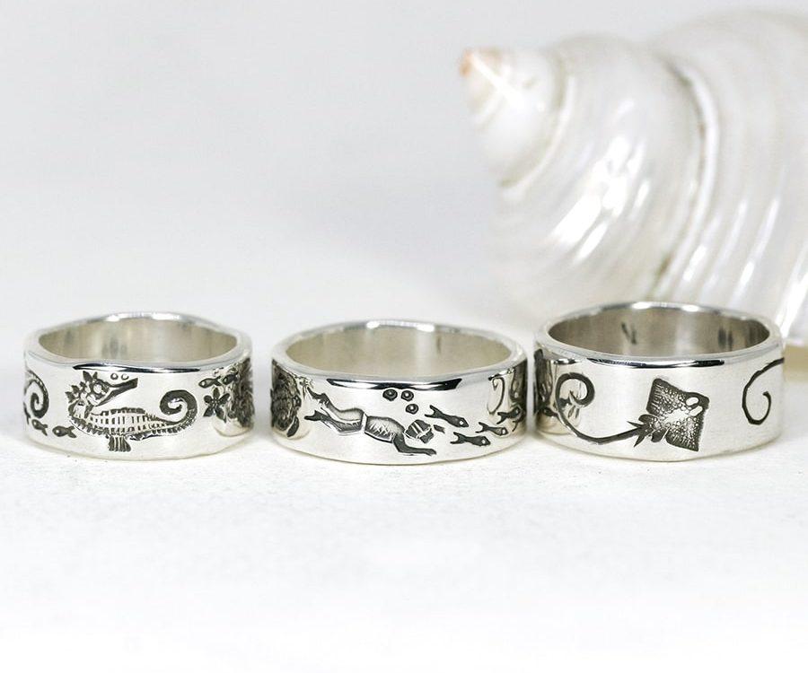 Ocean Themed Rings, various designs