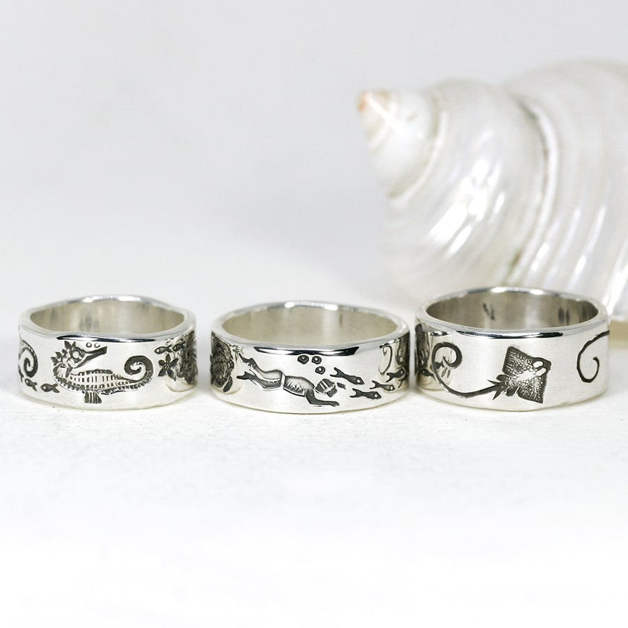 Ocean Themed Rings, various designs