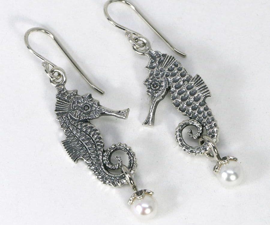 Seahorse Earrings with Fresh Water Pearls