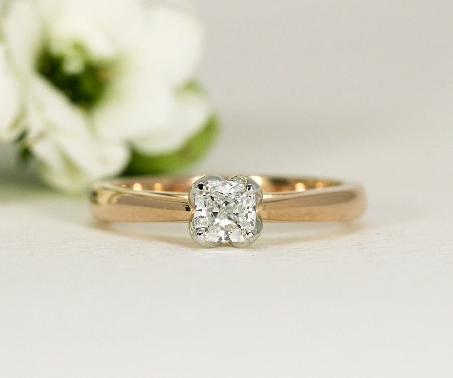 'Simply Rose', 18ct Rose Gold Ring set with 1.50ct Radiant cut Diamond