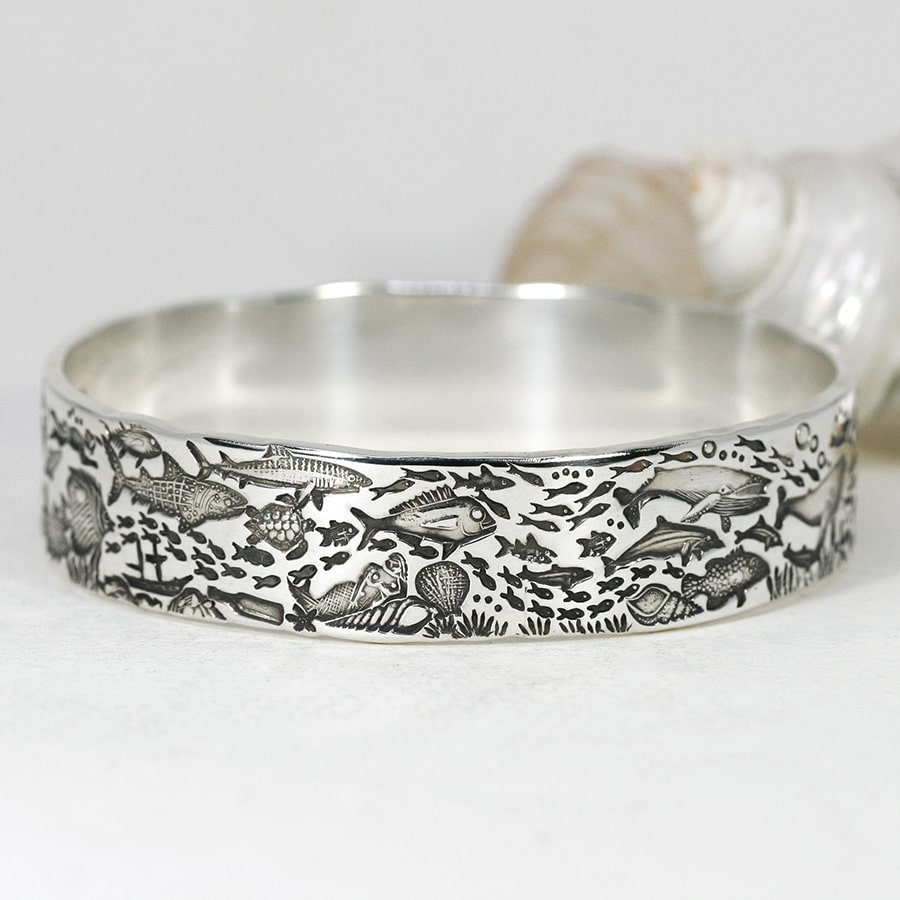'Underwater Treasure', sterling silver Bangle telling an Underwater Story