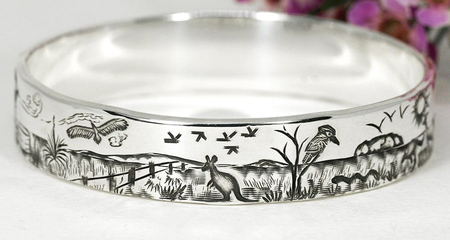 'The Outback Way', sterling silver Bangle depicting an Outback Story