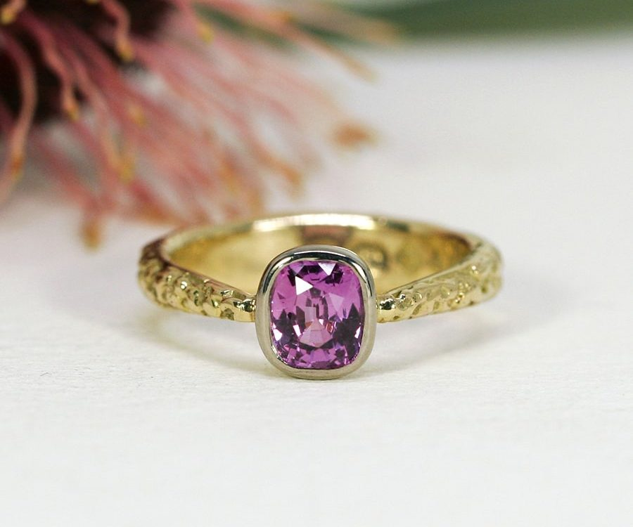 'Fuschia Moon', 18ct Fused Gold Ring set with a 1.32ct Pink Ceylon Sapphire and a Diamond set in the other side of band