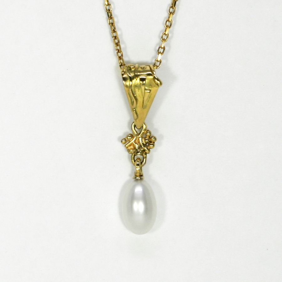 Keshi Pearl pendant, 18ct fused Gold