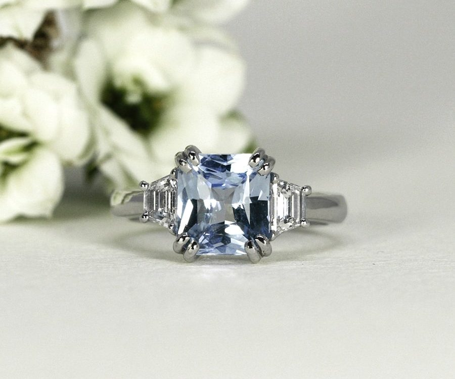 'Summer Skies', 18ct White Gold Ring set with a 3.02ct Ceylon Sapphire and Diamonds on either side