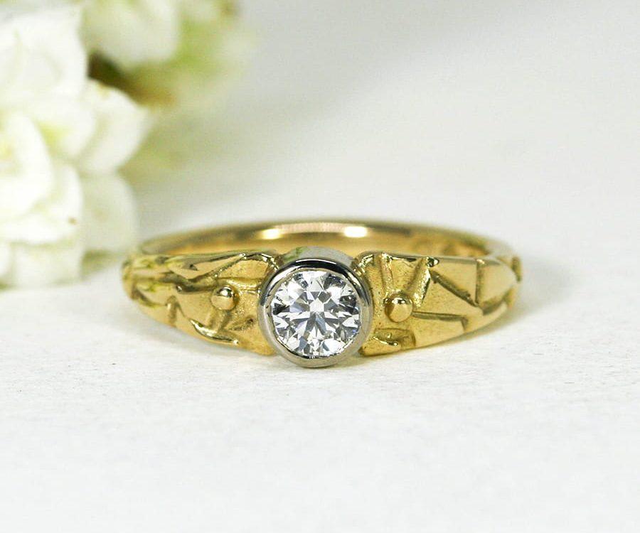 1. 'Adamaris', 18ct-fused-Yellow-Gold-band-and-18ct-White-Gold-bezel-set-with-43pt-Diamond-john-miller-design