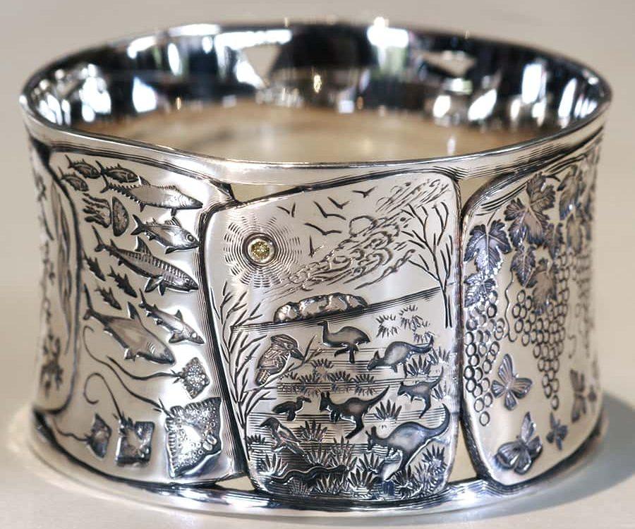 1. Sterling Silver Handcarved Bangle
