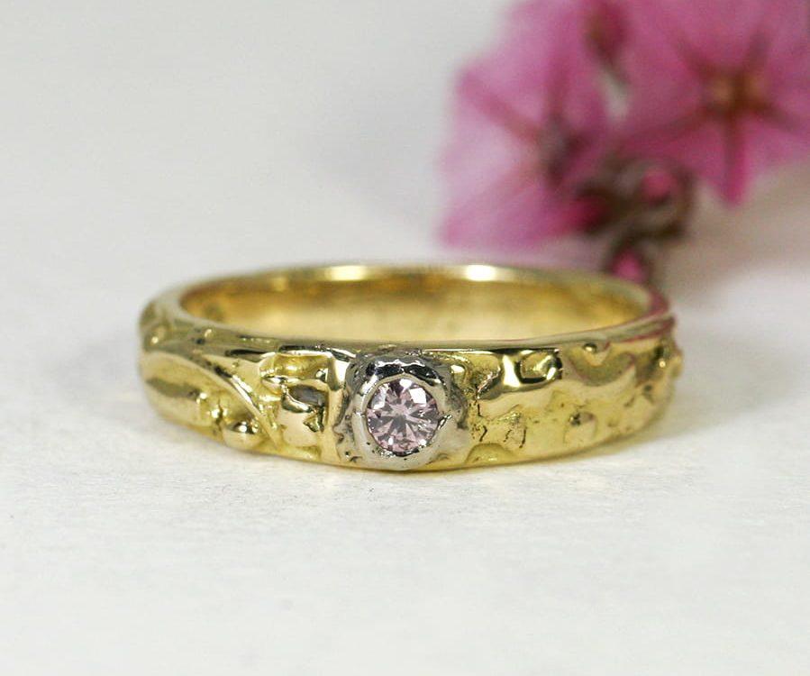 10. 'Peach Blossom', 18ct Yellow Gold, set with 0.80ct Pink Argyle Diamond