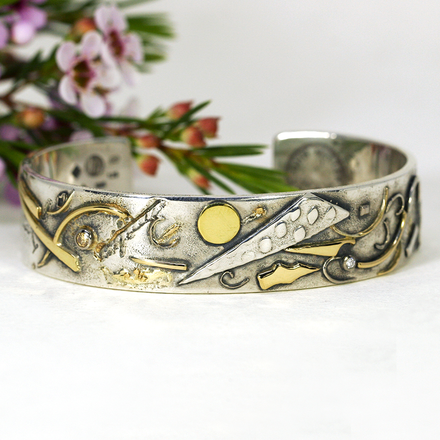10. 'Kadinski', Sterling silver and 18ct yellow gold fused cuff