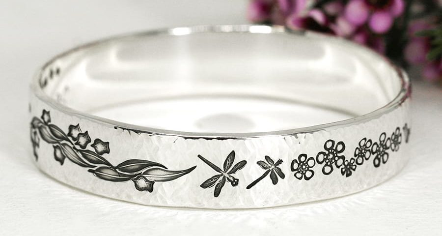 13. 'Something Beautiful', Sterling Silver bangle with Cross Peen finish