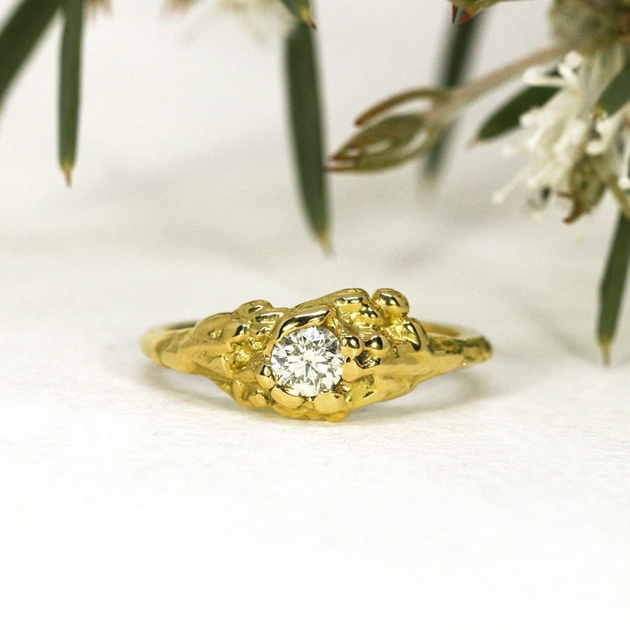 17. 'Summer Sun', 18ct Yellow Gold, set with a 32pt Hearts and Arrows Diamond