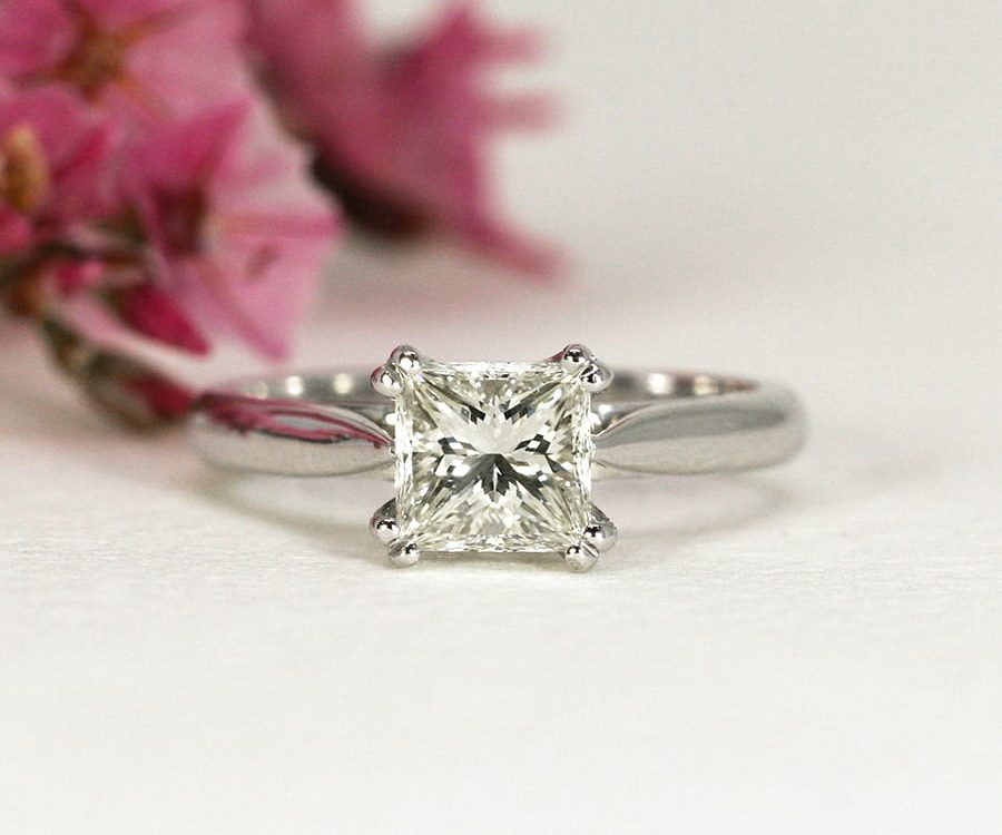 2. 'One and Only', 18ct White Gold Ring set with a 1.1ct Princess Cut Diamond