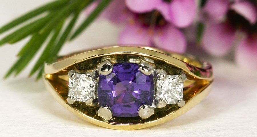 24. 'Lavender Dream', 18ct Yellow and White Gold, set with 1.53ct Purple Sapphire, Diamonds totalling 0.41cts