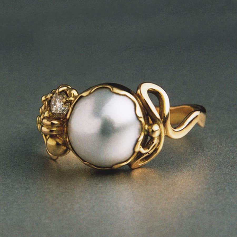 5. 18ct Yellow Gold, Pearl and Diamond ring