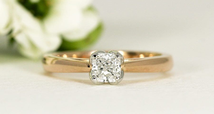 6. 'Simply Rose', 18ct Rose Gold Ring set with 0.50ct Radiant cut Diamond