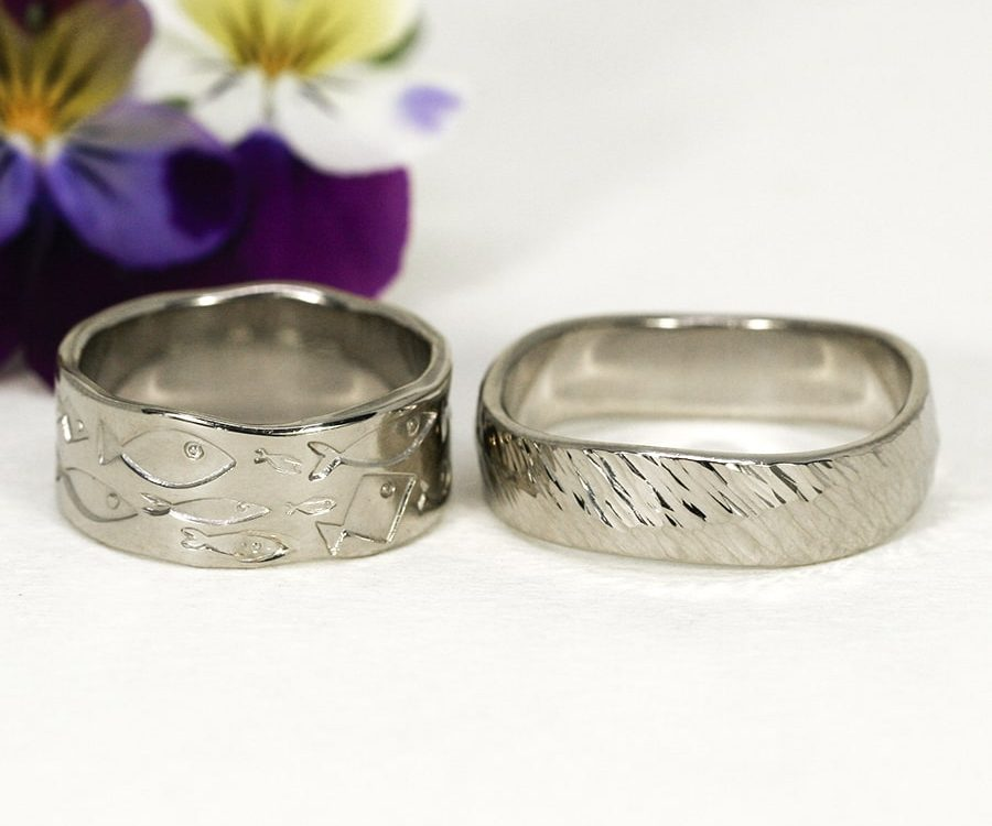 7. 18ct White Gold Rings, Stamped and Forged