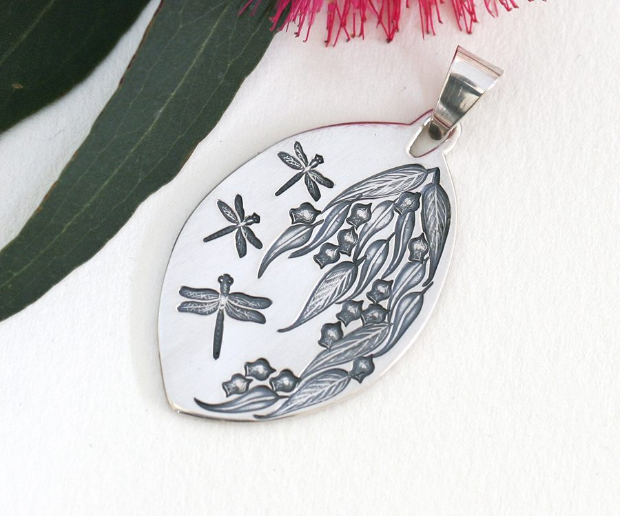 Dragonfly and Gum Leaf Pendant