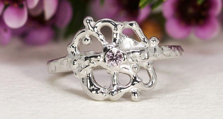 Starburst 18ct white gold pink diamond john miller design