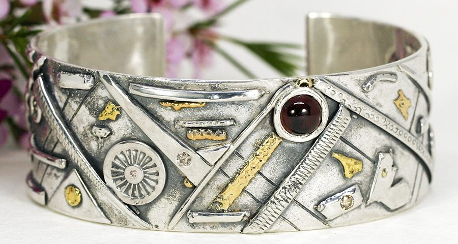 prospectors-cuff-fused-sterling-silver-gold-diamonds-garnet